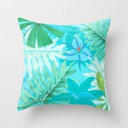 My blue abstract Aloha Tropical Flower Jungle Garden Throw Pillow
