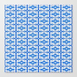 Cool Blue and White Country Saloon Wallpaper Molding Southwestern Design Pattern Canvas Print