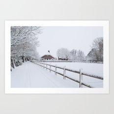Farm House in the Snow Art Print