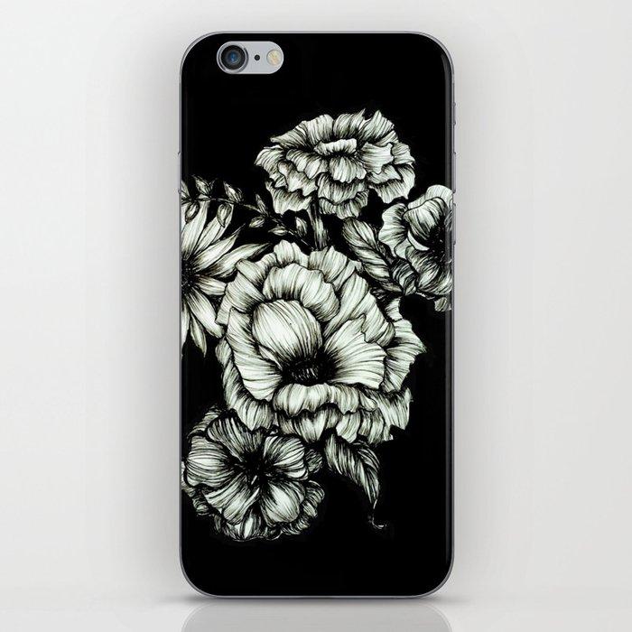 Black Floral Ink III iPhone Skin