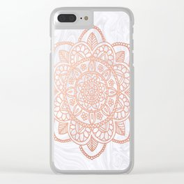 Rose Gold Mandala on White Marble Clear iPhone Case