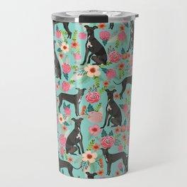 Italian Greyhound pet friendly pet portraits dog art custom dog breeds floral dog pattern Travel Mug