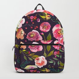 Floral watercolor chalk print pink peonies Backpack