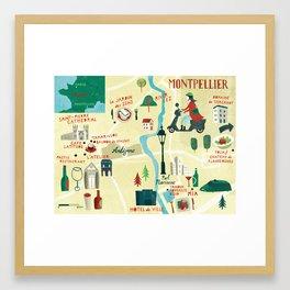 Montpellier Map Framed Art Print