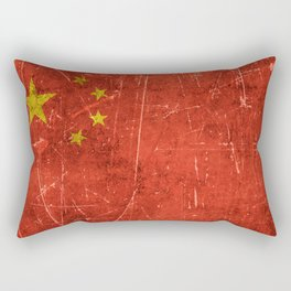 Vintage Aged and Scratched Chinese Flag Rectangular Pillow