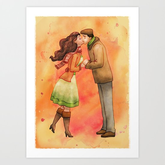 Cold Weather Kiss Art Print