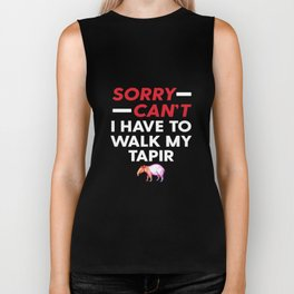 Sorry Can't I Have To Walk My Tapir Funny Excuse Biker Tank
