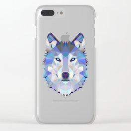 POLYGON WOLF HEAD Clear iPhone Case