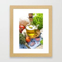Bottle of Olive oil and condiments on blue napkin Framed Art Print