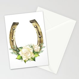 Watercolor horseshoes with roses Stationery Cards