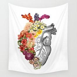 Flower Heart Spring White Wall Tapestry