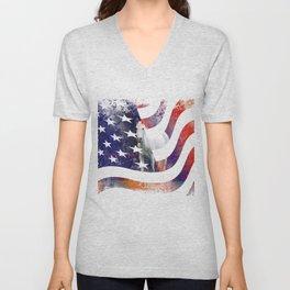 White Horse And American Flag By Annie Zeno Unisex V-Neck