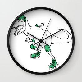Derby Dino WHT/grn Wall Clock
