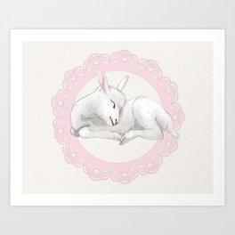 Sleeping Lamb in Pink Lace Wreath Art Print
