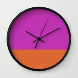 Fuschia Pink & Orange Color Block  Wall Clock
