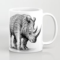 bioworkz Mugs featuring Rhinoceros by BIOWORKZ