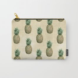 Vintage Pineapple Pattern Linen Carry-All Pouch