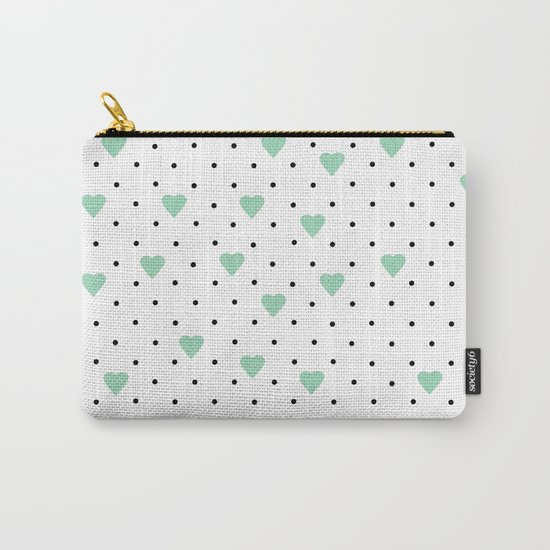Pin Point Hearts Mint Carry-All Pouch