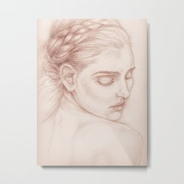 Portrait Study Drawing Victorian Lady Metal Print