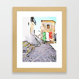 Tortora glimpse with chair and building whit Italian flag painted on the wall Framed Art Print