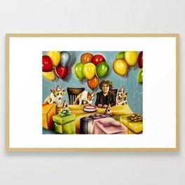 Happy Birthday Bernard Black Framed Art Print