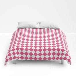 Small Diamonds - White and Dark Pink Comforters