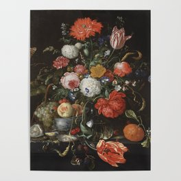 Jan Davidsz de Heem - Flower Still Life with a Bowl of Fruit and Oysters (c.1665) Poster