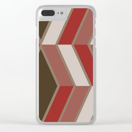 Mid Century Modern Diagonal Stripes Brown Red Clear iPhone Case