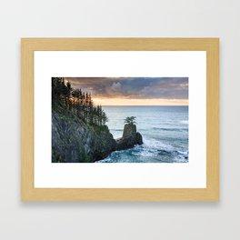 The Rigid Coastline in the Samuel H. Boardman State Scenic Corridor at Sunset Framed Art Print