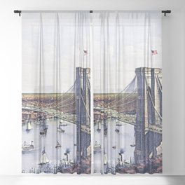 Vintage 19th Century East River Suspension Bridge - Brooklyn Bridge Lithograph Sheer Curtain