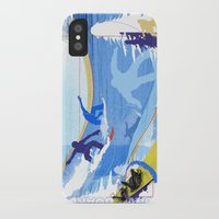 snowboarding iPhone & iPod Cases featuring Snowboarding by Tami Cudahy