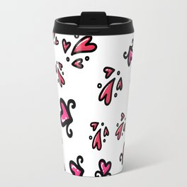 Valentine's Day Love & Hearts Sketchy Doodles, seamless pattern Travel Mug