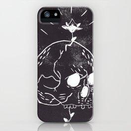 Skull & flower bud iPhone Case