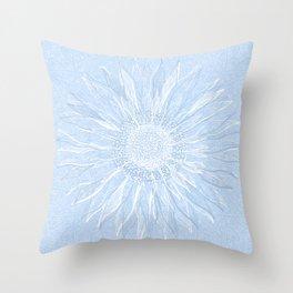 Festive, Winter, Mandala, Snowflake, Sky Blue Throw Pillow