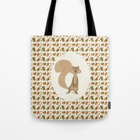 squirrel Tote Bags featuring Squirrel by Jane Mathieu