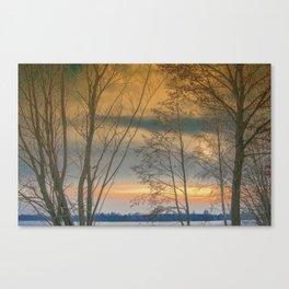 Evening sun over a lake Canvas Print
