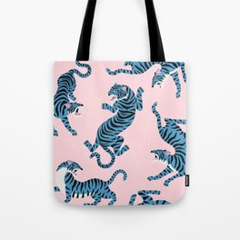 Pastel Pink & Blue Tiger Pattern Tote Bag
