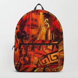 Indigenous Inca Tribes People portrait painting by Ortega Maila Backpack