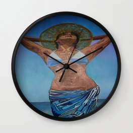 Woman Wearing Hat And Sarong  Enjoying Summer Wall Clock