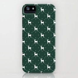 Deer pattern retro colors Christmas Day dark green iPhone Case