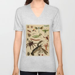Popular History of Animals Insects Vintage Scientific Illustration Educational Diagrams Unisex V-Neck