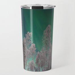 Northern Lights and White Trees (Color) Travel Mug