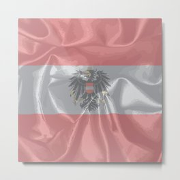 Silk Austrian Flag and Coat of Arms Metal Print