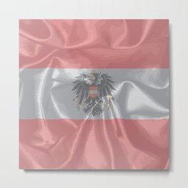 Silk Austrian Flag and Coat of Arms Metal Print