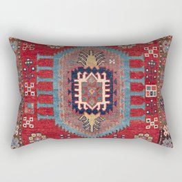 Tribal Honeycomb Palmette II // 19th Century Authentic Colorful Red Flower Accent Pattern Rectangular Pillow