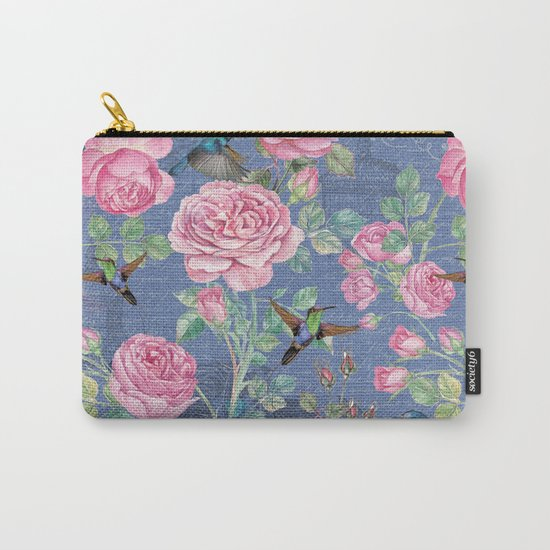 Vintage Watercolor hummingbird and English Roses on blue Background Carry-All Pouch