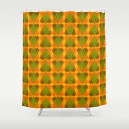 Pattern of green hearts from red stripes on an orange background in a bright intersection. Shower Curtain