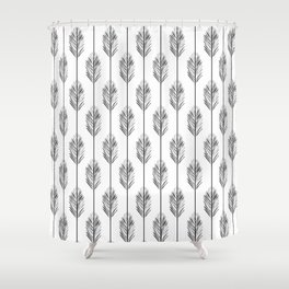 Black and White Redwood Leaf Shower Curtain