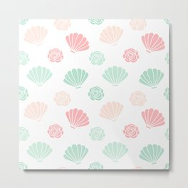 cute colorful summer pattern with seashells and roses Metal Print