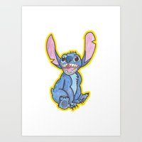 stitch Art Prints featuring Stitch by DROIDMONKEY